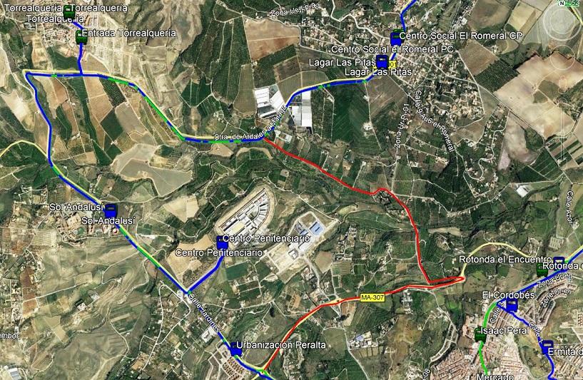Anulación parada Sol Andalusí por obras. Ruta M-135 Málaga Santa Amalia