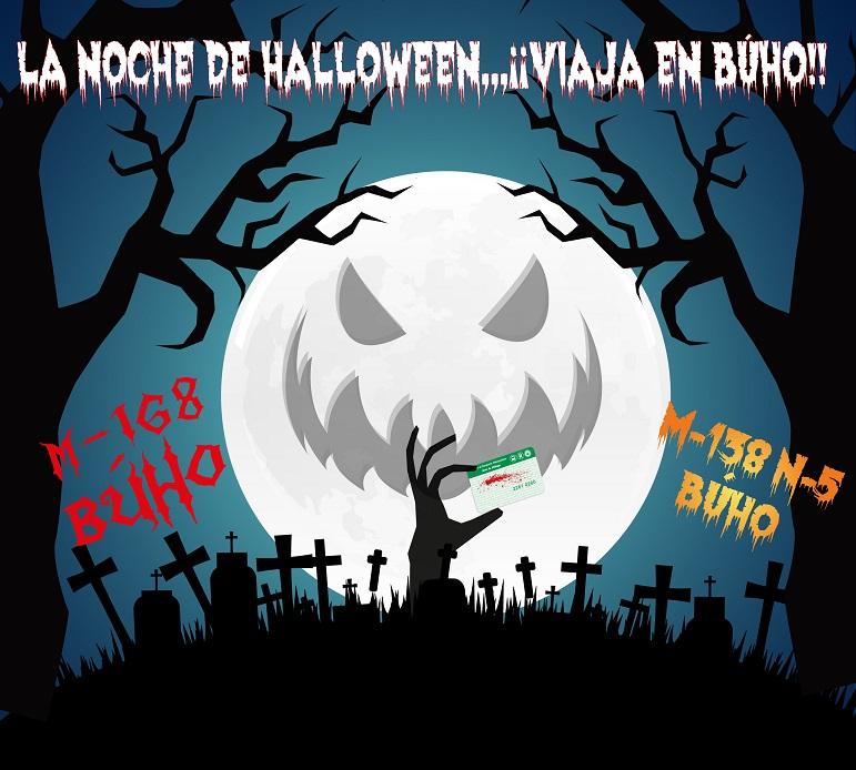 Halloween 2017 autobús nocturno Consorcio Málaga M-138 M-168