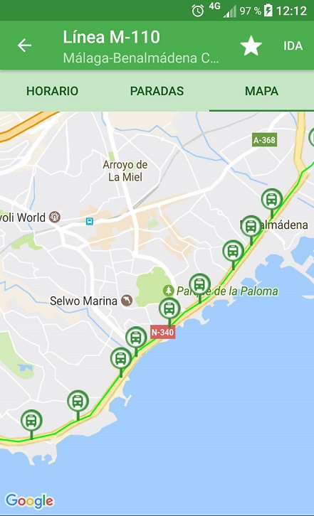 Plano M-110 app Consorcio Malaga
