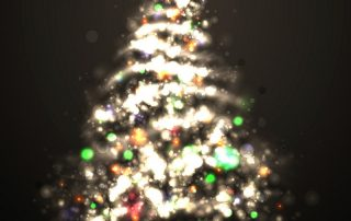 Dark Bronze Christmas Greeting with Tree of Glittering Lights | EPS10 Graphic | Separate Layers Named Accordingly