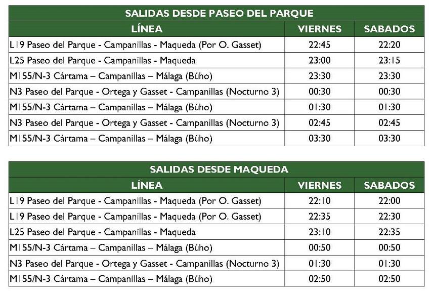 Nuevo servicio nocturno de la EMT entre Campanillas y Málaga a partir del viernes, 21 de abril